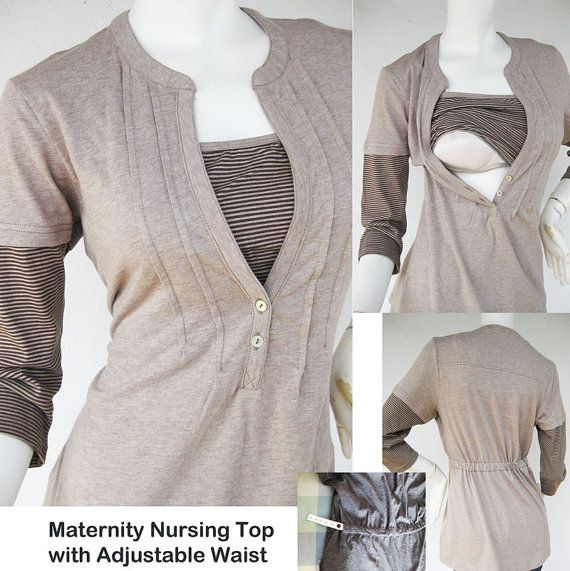 JENNY Maternity Clothes / Nursing Tops for Breastfeeding / NEW MOCHA / Adjustable Waist / Nursing Clothes on Etsy, $28.38