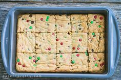 My family are huge fans of these cake mix cookie bars. These are soft gooey cookie bars made with moist yellow cake mix, and have chocolate chips and M&M's!
