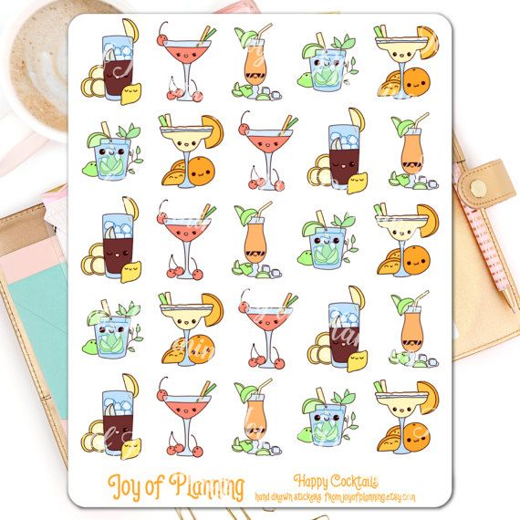Cocktail planner stickers planning food stickers by JoyofPlanning