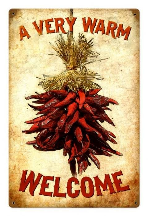 Vintage and Retro Wall Decor - JackandFriends.com - Vintage Welcome Chilies Metal Sign, $39.97 (http://www.jackandfriends.com/vintage-welcome-chilies-metal-sign/)