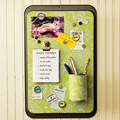 Turn a cookie sheet into a magnetic message board.