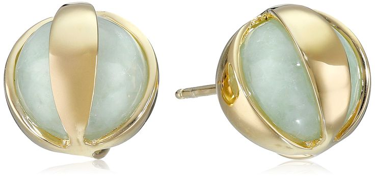 18k Yellow Gold Over Sterling Silver Green Jade Post Stud Earrings: