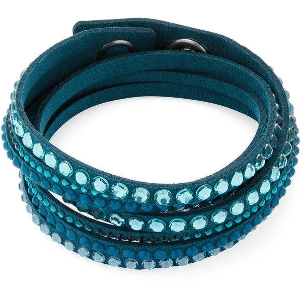 Swarovski Women's Slake Friendship Bracelet - Light/Pastel Blue (51 CAD) ❤ liked on Polyvore featuring jewelry, bracelets, wide bangle, blue bangles, snap button jewelry, snap jewelry and swarovski bangle
