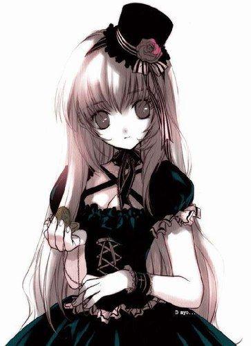 Fille manga cheveux bruns gothique