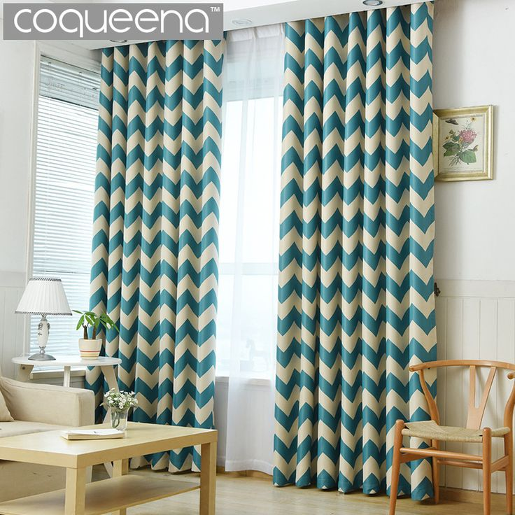 Elegant Chervon Design Blackout Curtains for Bedroom Modern Living Room Curtains Decorative Door Curtains Drapes Teal Geometric