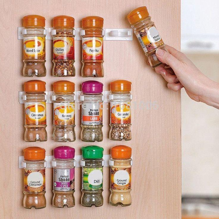 Spice wall Rack Storage plastic Kitchen organizer 12 Cabinet Door hooks 3PCS/SET S002