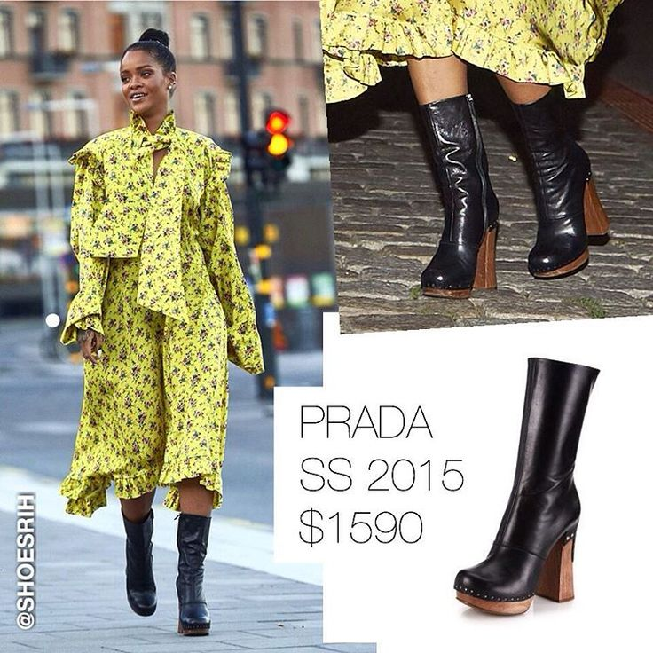 Prada black leather wooden-heel booties SS 2015 $1590, @badgalriri