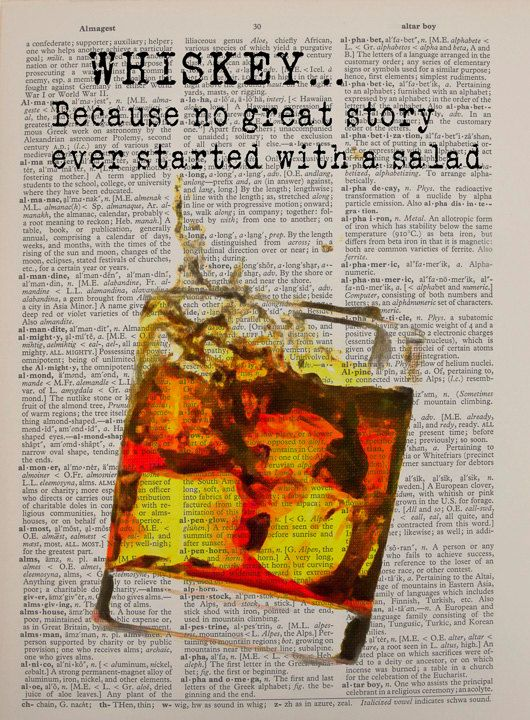 Whiskey Dictionary Art Print Bar Art Glass Splash by Lexiconograph