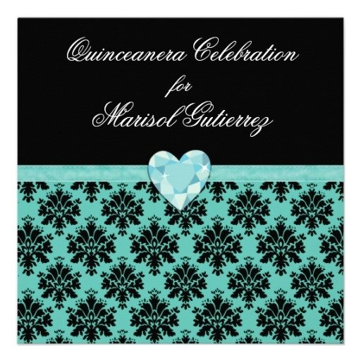 KRW Blue Jewel Heart Quinceanera Invitation