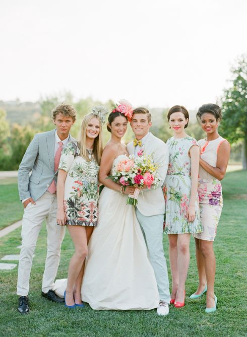 Instead of having your bridesmaids wear the same dress in the same color, let them have fun and look stylish with patterned dresses. Trust us, they'll thank you.  Read more: http://stylecaster.com/pinterest-wedding-ideas/#ixzz39aXyNlko