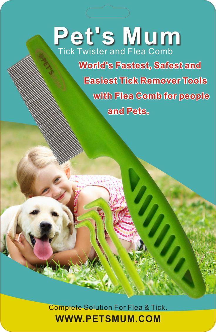 Flea Tick Control by Pet's Mum Pet Flea Comb and Tick Remover Twister set. Complete Flea Tick prevention package.