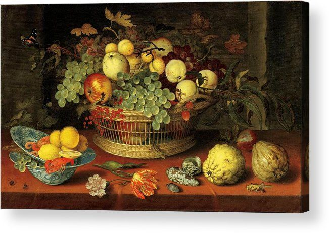 Balthasar Van Der Ast Acrylic Print featuring the painting Still Life With Basket Of Fruit by Balthasar van der Ast