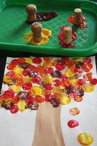 Cork Painting -- cute fall idea! For Monica. Maybe an after school project??