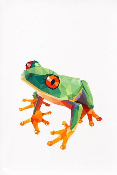 Geometric illustration Tree Frog Animal print door tinykiwiprints