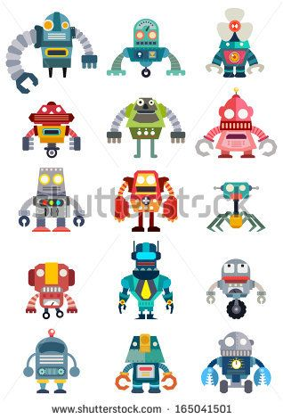 The 19 best robots images on pinterest robot robot illustration set of cute future robots robots vector set illustrator vector stock vector malvernweather Gallery