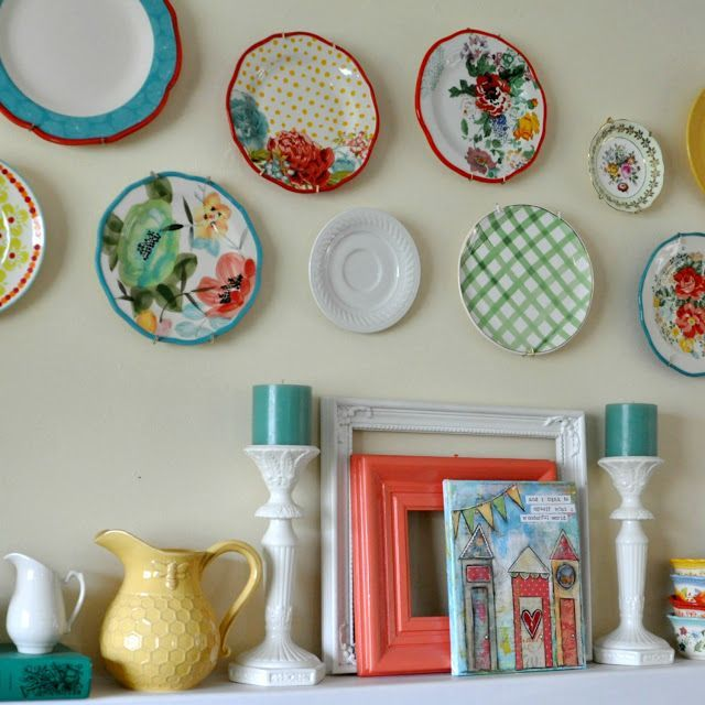 Pioneer Woman Dishes Plate Wall Above The Fireplace Life On Lemon Lane Blog Kitchen Decor Dining Room Remodel