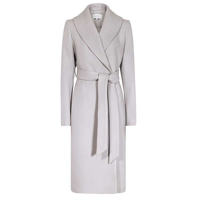 BuyReiss Cody Long Length Larger Lapel Coat, Light Slate, 6 Online at johnlewis.com