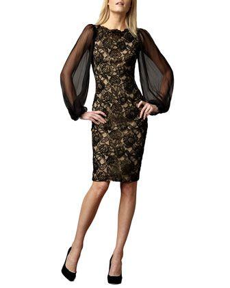 Tadashi Shoji Sheer-Sleeve Lace Cocktail Dress