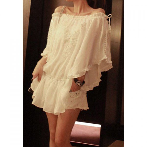 Elegant Batwing Short Sleeve Women's White Chiffon Dress---too bad it looked and fit NOTHING like the picture.