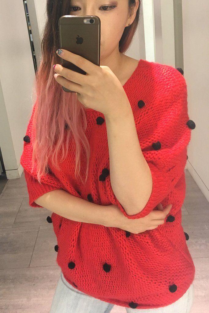 #ugly #christmas #pompom #red #dolman #widefit #oversize #swweater