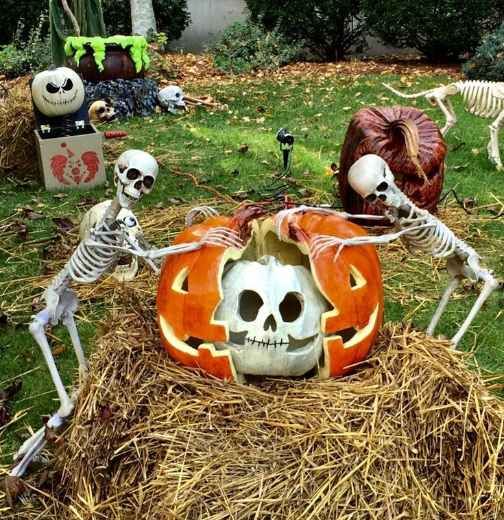Skull Pumpkin Within A Pumpkin Paper Mache Halloween Outdoor Decorations Halloween Projects Outdoor Halloween