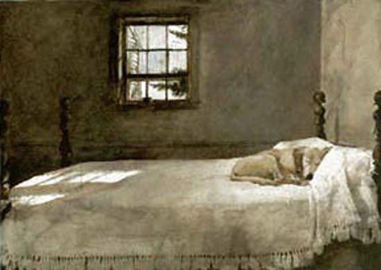 Andrew Wyeth - \'Master Bedroom\' 1965 /The Wyeth family Labrador ...