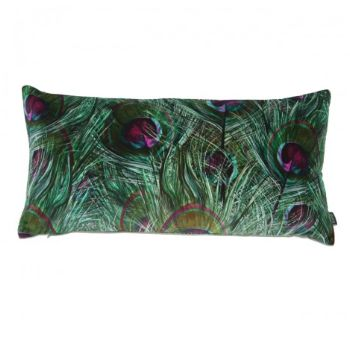 Paon Teal Cotton Velvet Cushion: This beautiful Paon Teal cushion is designed by  Jo Bound for Boeme. Created in the Boeme studio from Jo Bound's original fine art paintings which explore the natural world of plants and landscapes.