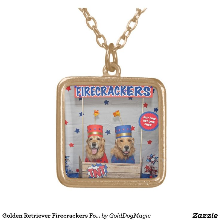 Golden Retriever Firecrackers For Sale Square Pendant Necklace