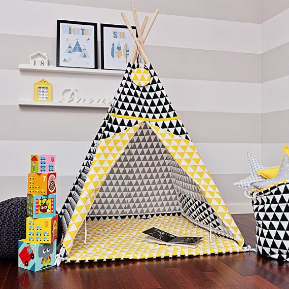 Teepee play tent is a great hiding place for your child at any time of the year. You can enjoy it at home, on the terrace, balcony or garden. Decorate any interior and give comfort.  The tent is lightweight and easy to assemble, so you can freely move and rearrange. Made up of two color fabrics. It has a charming window, and commonly established laps. Inside it has 2 pockets for treasures of your child. It includes free of charge decorative pendant!  For sale is teepee set Contrast Triangle…
