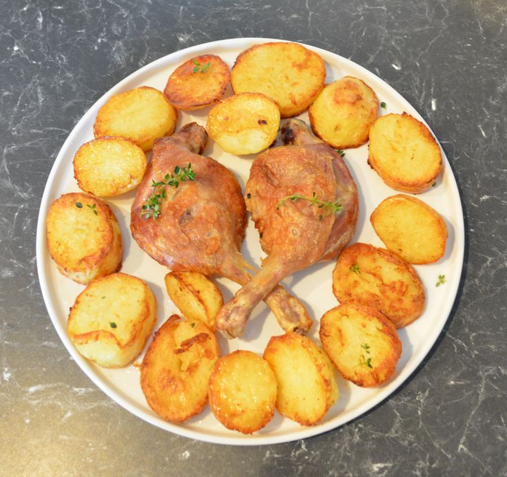 Roast Duck Marylands with Potatoes. Find the recipe at http://www.whatscookingella.com/blog/roast-duck-marylands-with-potatoes