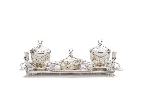 Turkish Coffee Tea Serving Set with 2 Cups Saucers Turkish Delight Sugar Bowl Tray Ottoman Oriental Gift