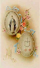 Oración     Virgen Inmaculada de la Medalla Milagrosa,   Que te manifestaste a Santa Catalina Laboré,   Como mediadora de todas las gracias...