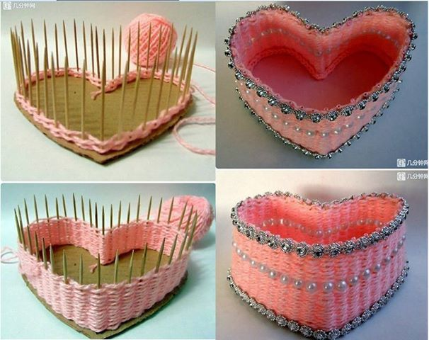 Foto: Caixa de coração com palitos de dentes, lã, e contas. Você vai precisar fixar com cola os palitos em uma base de papelão ou isopor for...