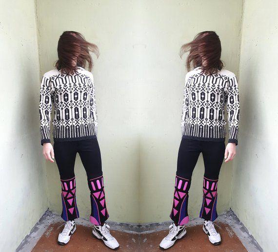 Vintage Norwegian WOOL sweater, women's wool jumper, 90s winter, wool, jumper, long sleeve, white, black, size tag 42, estimated S / M