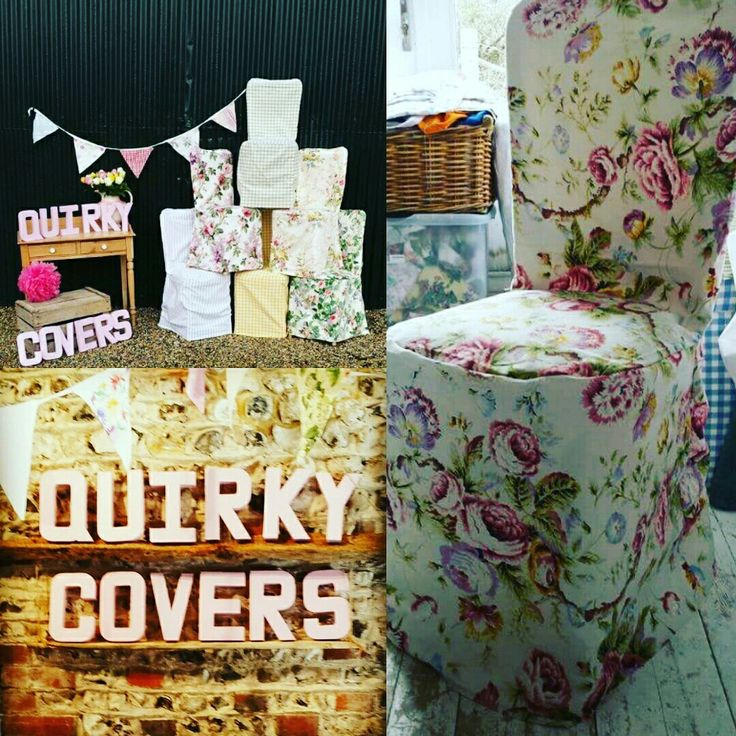 Fabric chair cover hire with bunting and napkins to hire