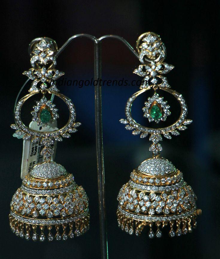 Latest Indian Gold and Diamond Jewellery Designs: Latest Diamond Jhumkas