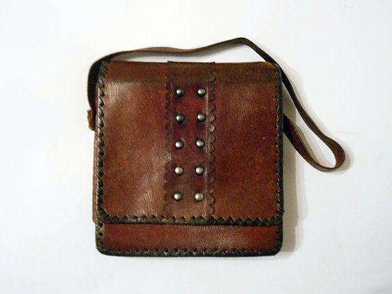 Brown leather shoulder bag leather messenger bag by Kavalvintage
