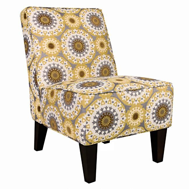 A Yellow And Grey Print Accent Chair Is Easy To Add Into Any Room New Pin