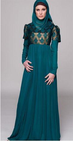 Blue Muslim dress.