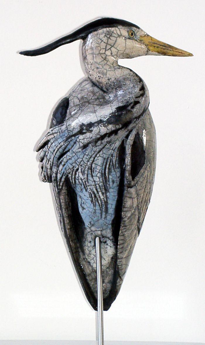 """Catherine Chaillou ~ """"Héron Cendré"""" ~ Céramique Sculpture"""