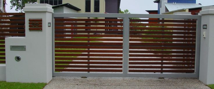Metal And Wood Residential Sliding Gate