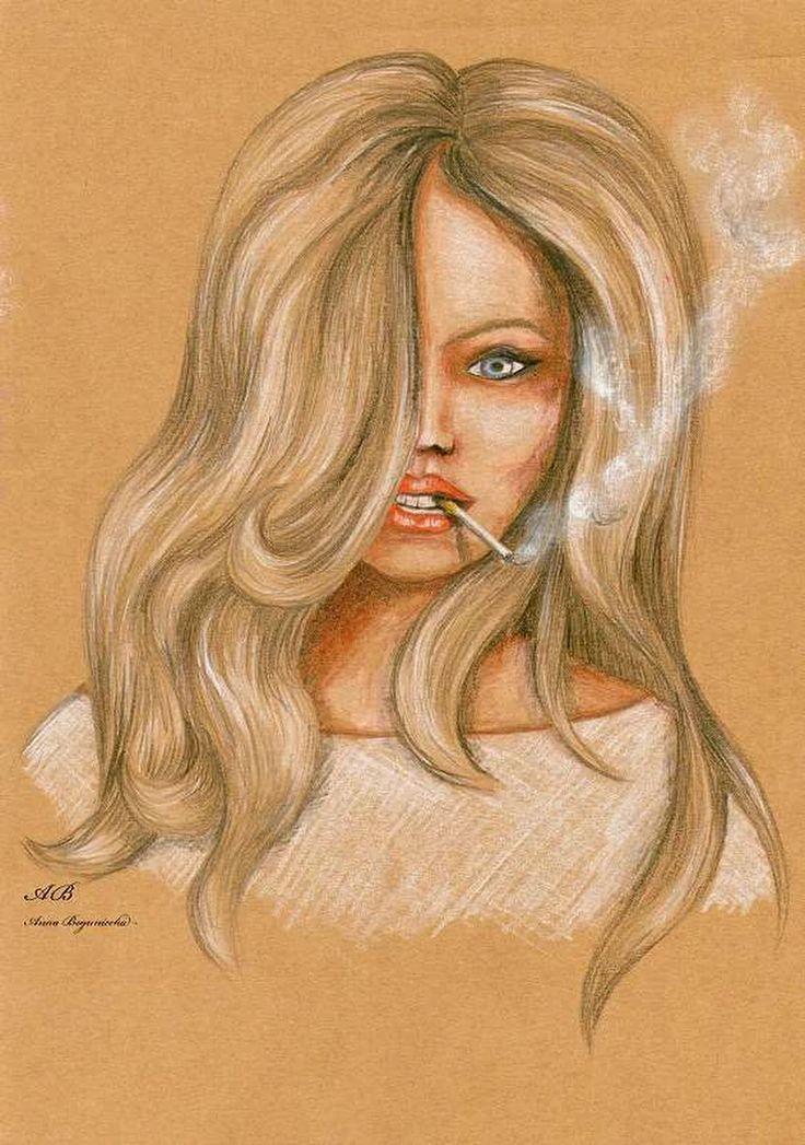 kobieta, portret, kredka, szare tło, papieros, dym