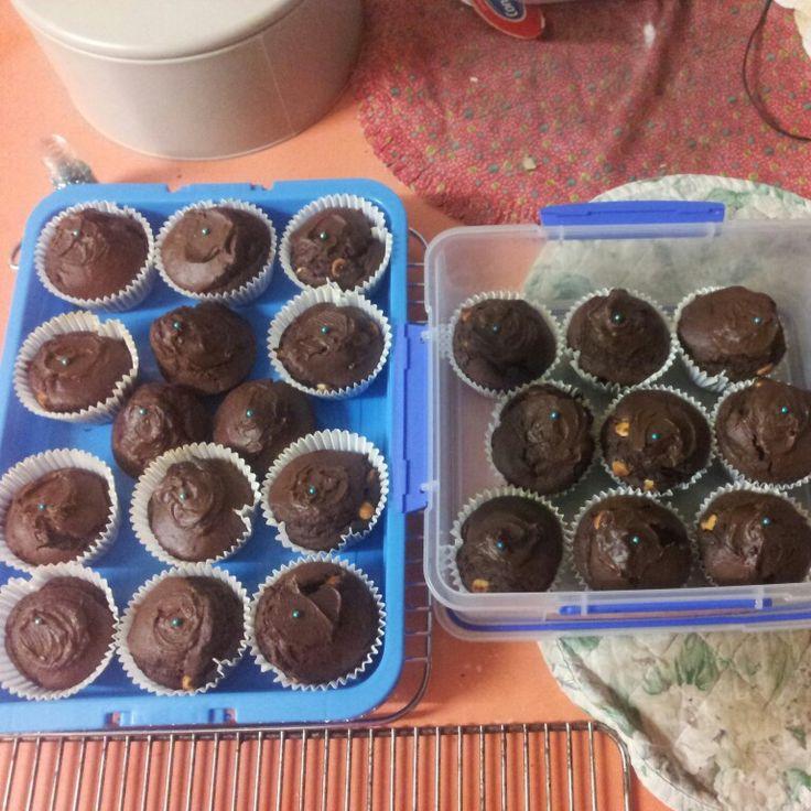 Double Choc Muffins with Chocolate Ganache