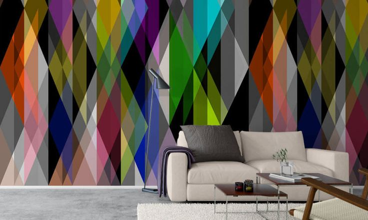 Get your walls excited with this psychedelic and geometric wall paper! Involving many bright colors and and following a zig-zag-like pattern, this wall paper will compliment your funky contemporary ho