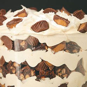 chocolate peanut butter trifle--I like the suggestions I read of omitting the PB chips in the brownies and cutting back on the PB cups.  Looks yummy!