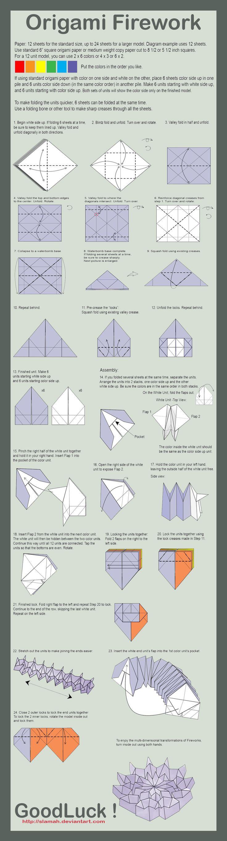 Origami Firework Folding Instructions | Origami Instruction