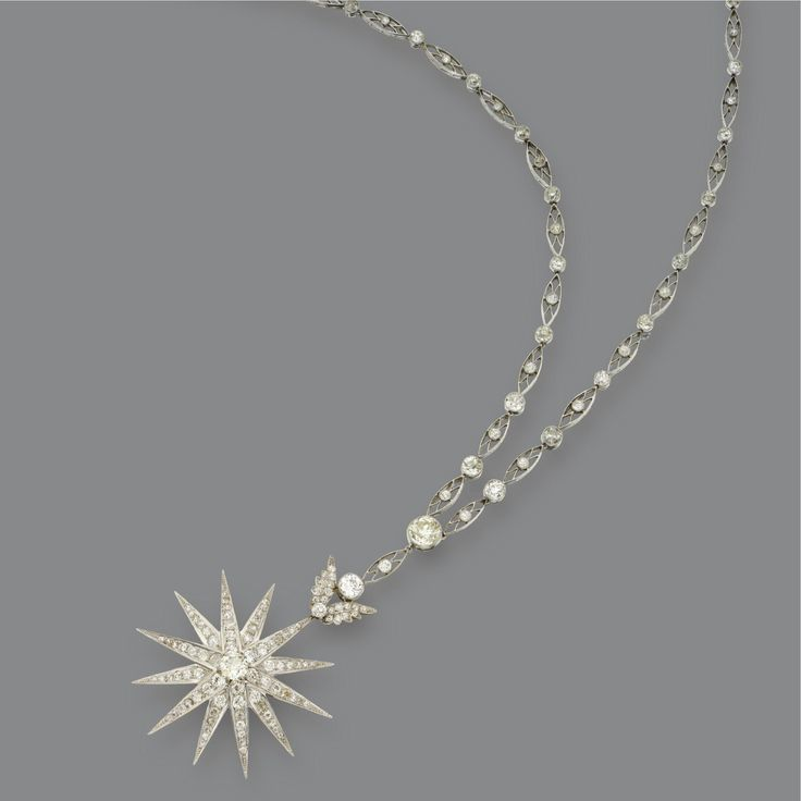 Diamond star pendant on a diamond chain circa 1900