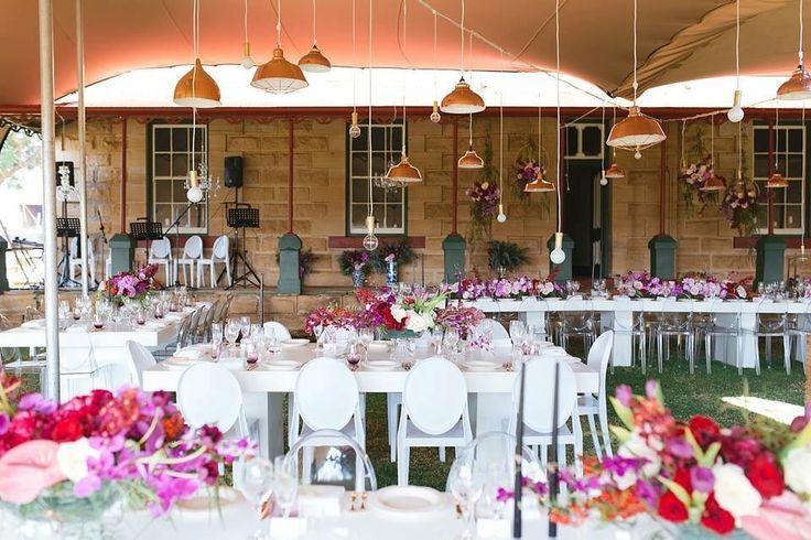 Our copper shades, white Victoria chairs & edison bulbs