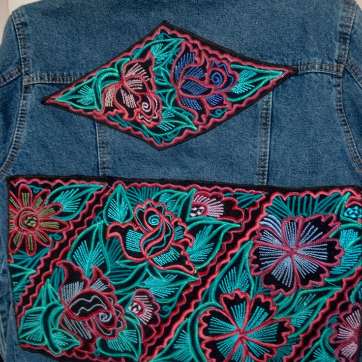 Women's Jean Jacket, size Large, embellished with geometric Mayan embroidery by WearableDenimArt on Etsy