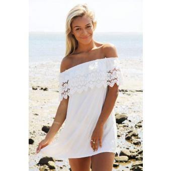 Blanco Sexy Hombro Vestido de gasa Off sin respaldo Crochet Lace Patchwork mini vestido sólido Corto